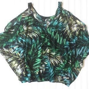 Jessica Simpson Cold Shoulder Blouse Tropical Sz L